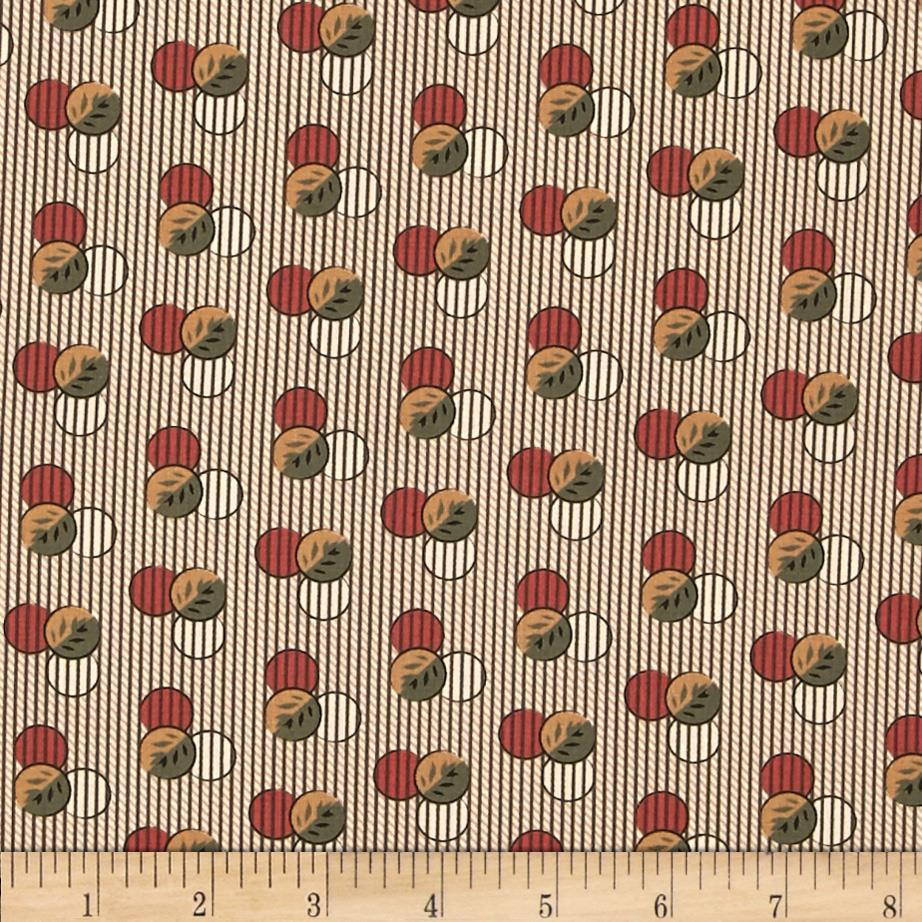 Molly B's 1800's Simply Harvest Dot on Stripe Red/Green