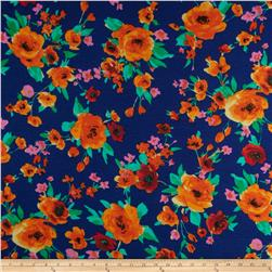 Stretch Soft Jersey Knit Floral Royal/Orange/Red/Pink Fabric