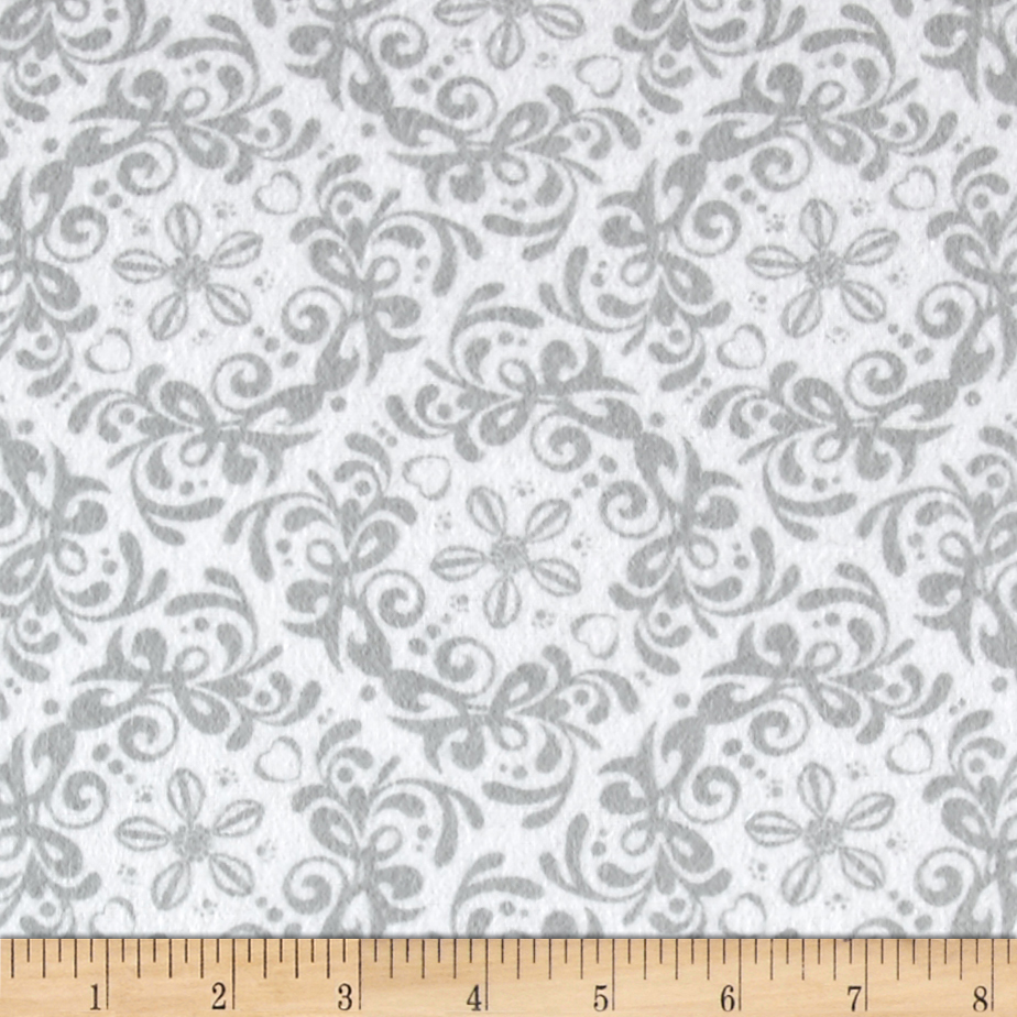 Flannel Rococo Grey/White Fabric by Eugene in USA