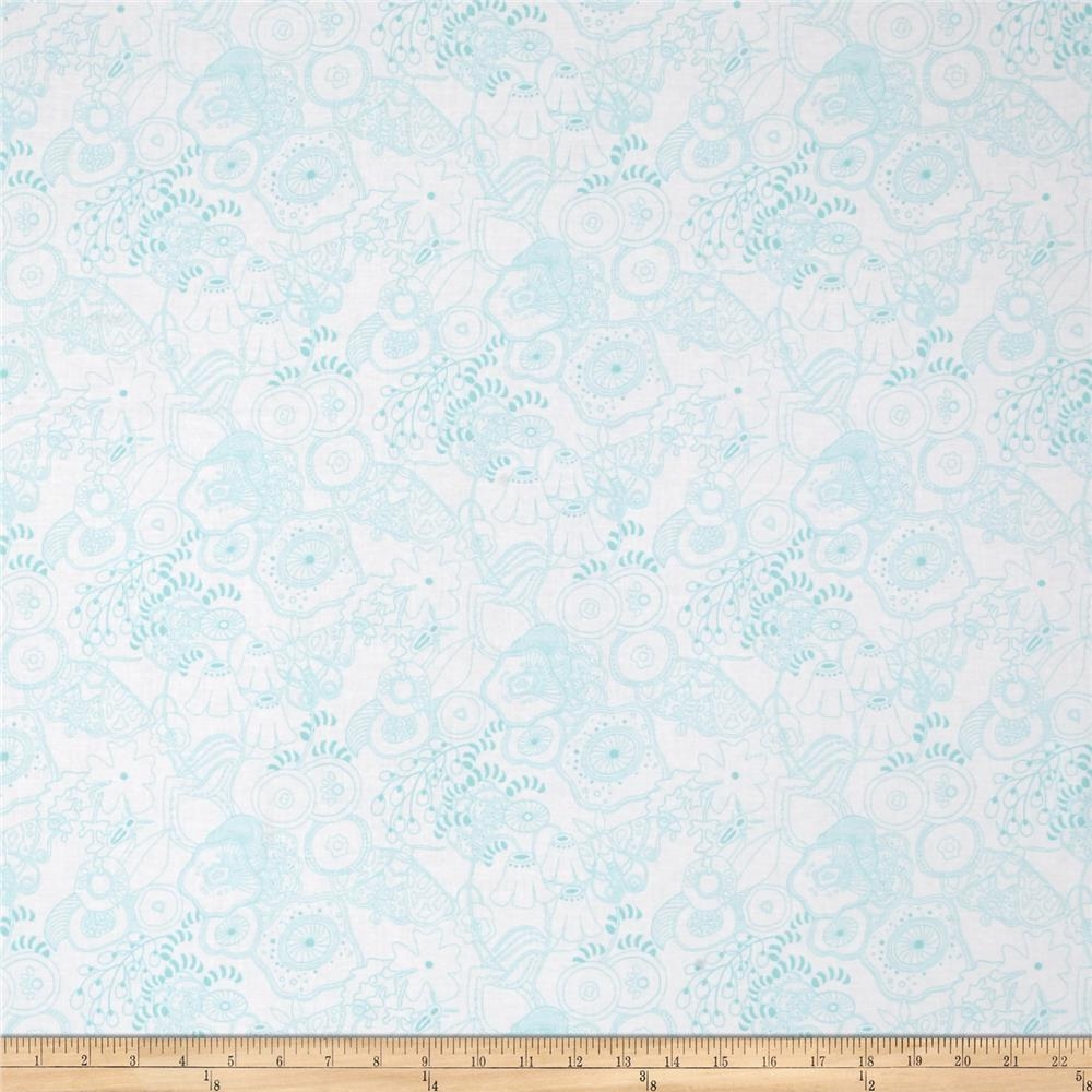 Alison Glass Abacus Grow Flowers Teal