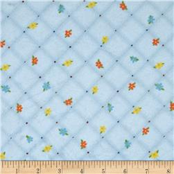 Minky Quilted Floral Plaid Blue