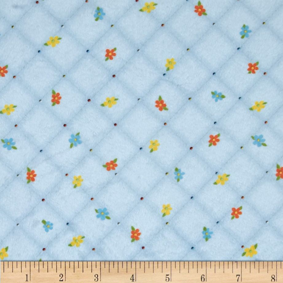 Minky Quilted Floral Plaid Blue Fabric by E.Z Fabric in USA