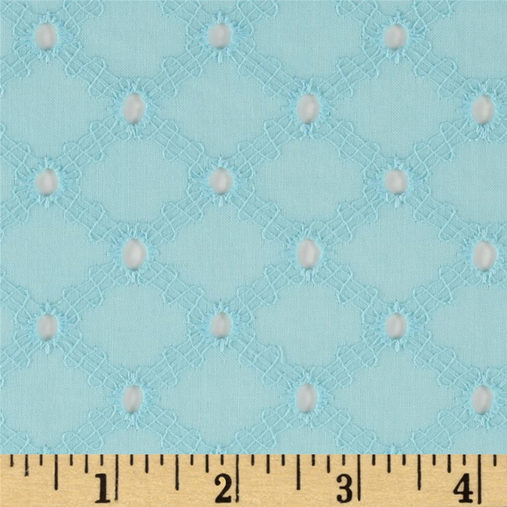 Michael Miller Lattice Cotton Eyelet Aqua