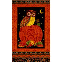 Moda Forest Fancy 24 In. Owl Panel Harvest Orange