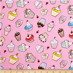 Tiddlywinks Cupcakes Pink Fabric