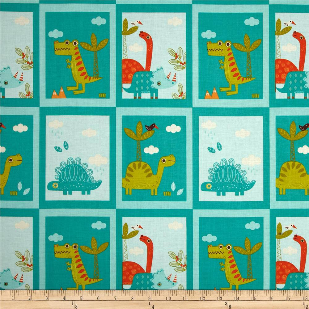 Riley blake dinosaur patch blue discount designer fabric for Dinosaur fabric