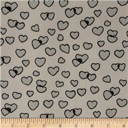Boutique Peachskin Hearts Creme/Grey Fabric