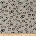 Boutique Peachskin Hearts Creme/Grey