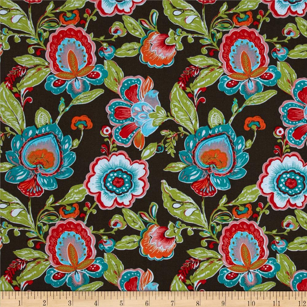 Brush Stroke Floral Medallion Brown/Multi
