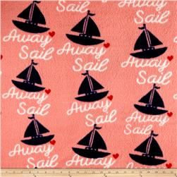 Fleece Print Boats Pink/Navy