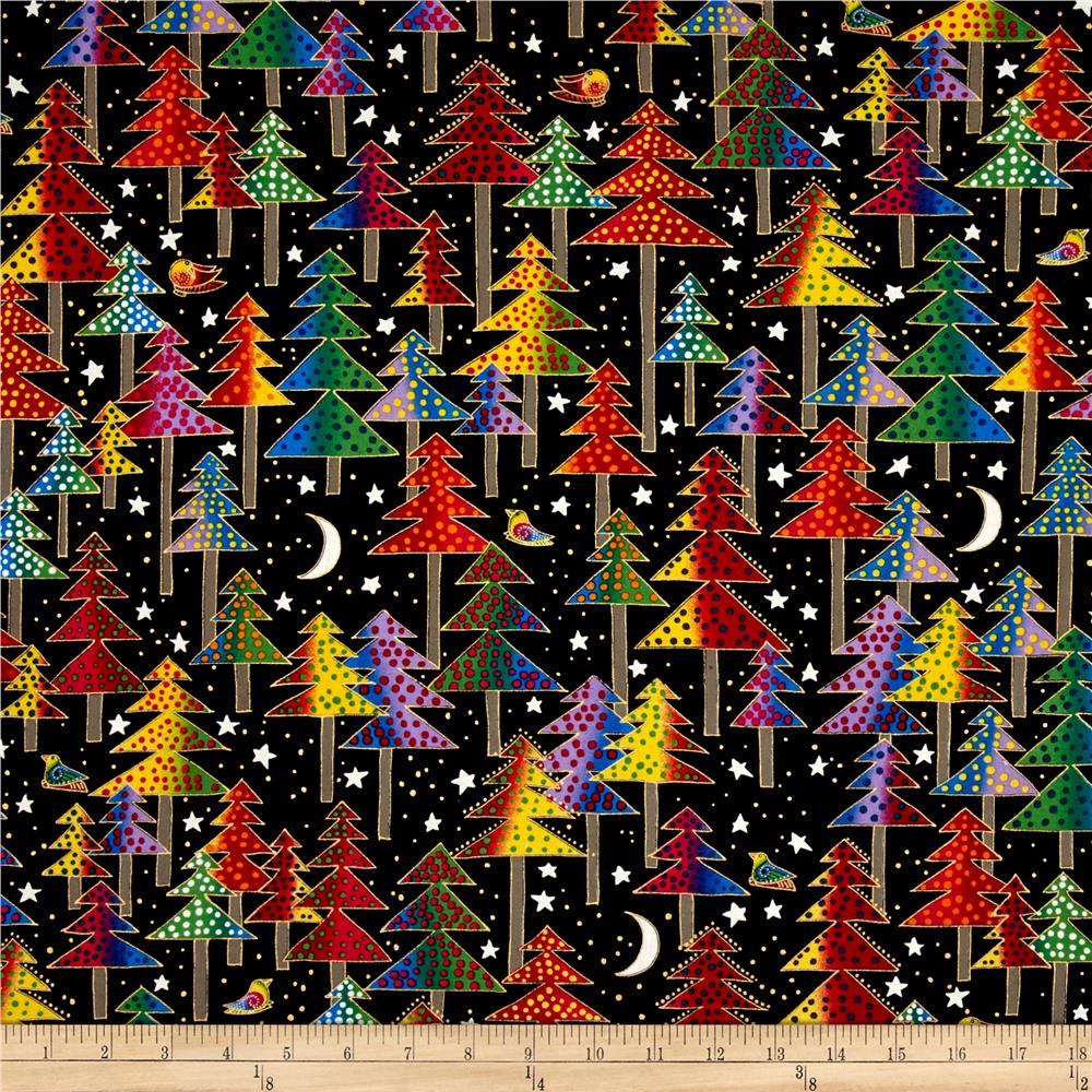 Laurel Burch Enchantment Metallic Christmas Trees Black