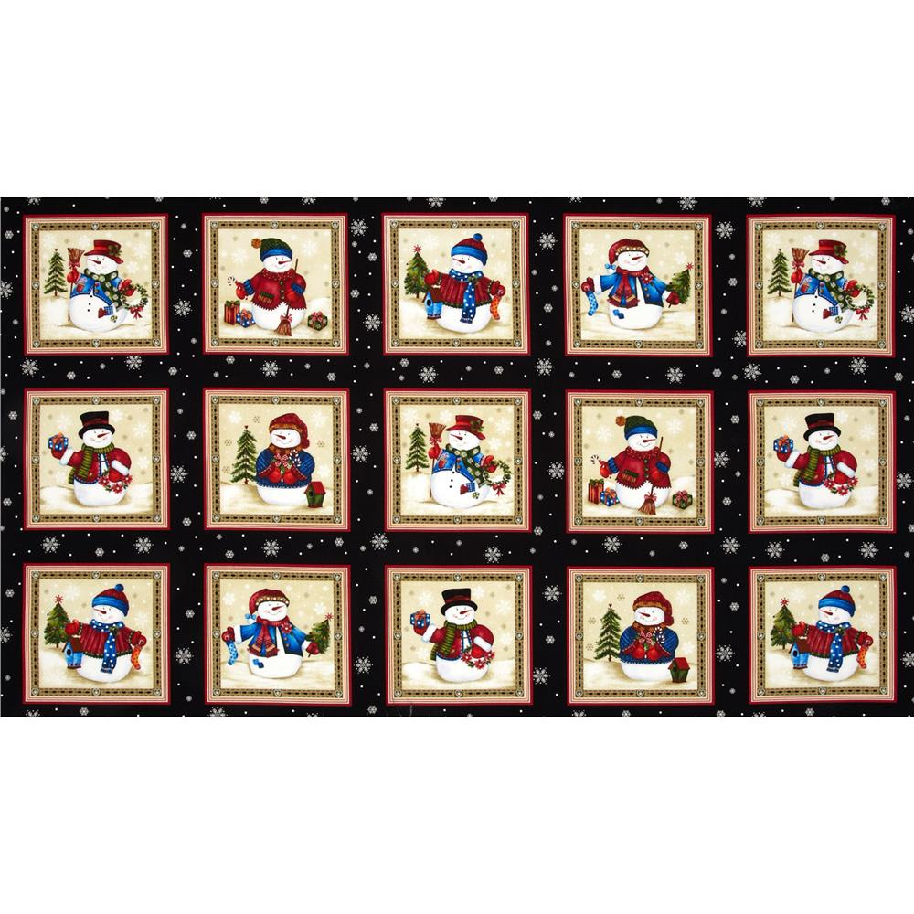 Winter Wishes Snowman Block Panel Black/Red