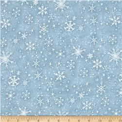 Snow Babies Flannel Snow Flakes Blue