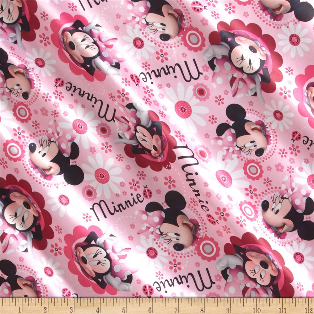 Disney Minnie Face & Flower Toss Brushed Back Satin Pink
