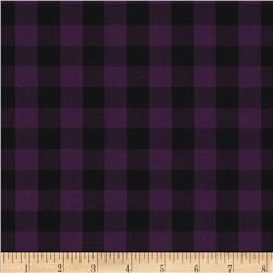 Stretch Yarn Dyed Shirting Check Purple/Black
