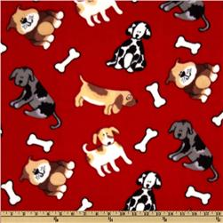 WinterFleece Playful Puppies Red