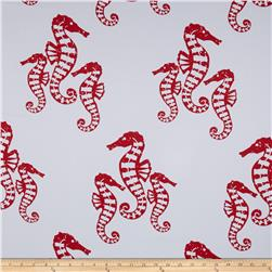 RCA Blackout Drapery Fabric Seahorses Red
