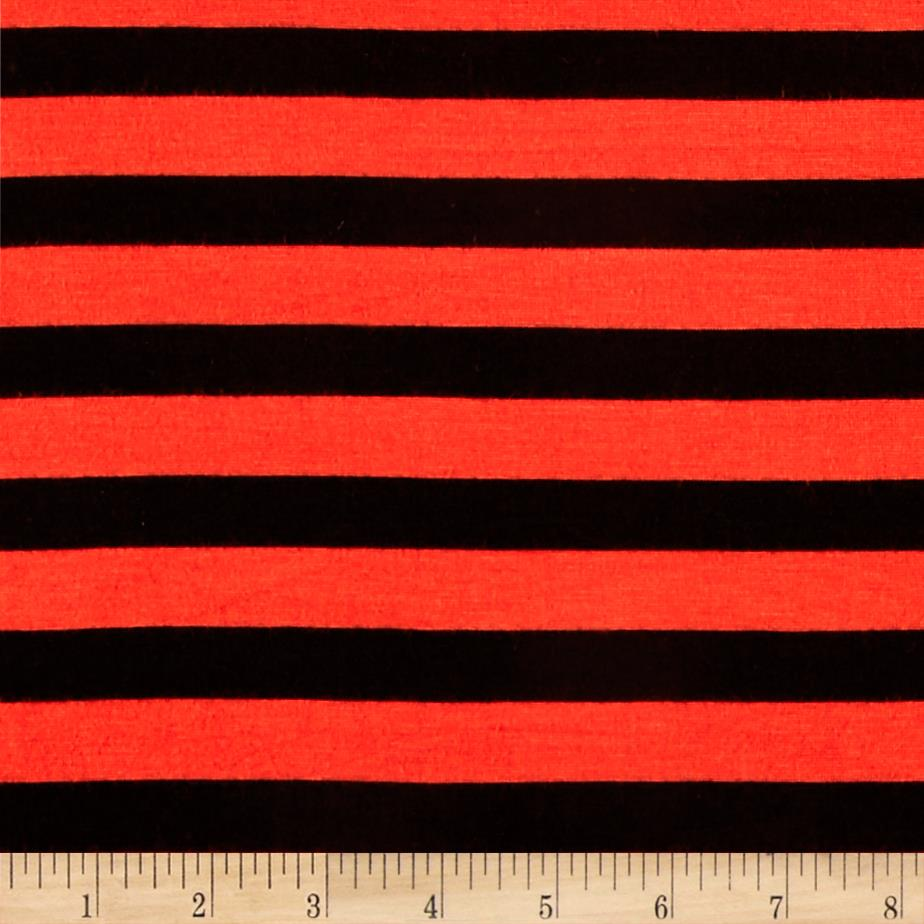 Jersey Knit Small Black Stripe Orange