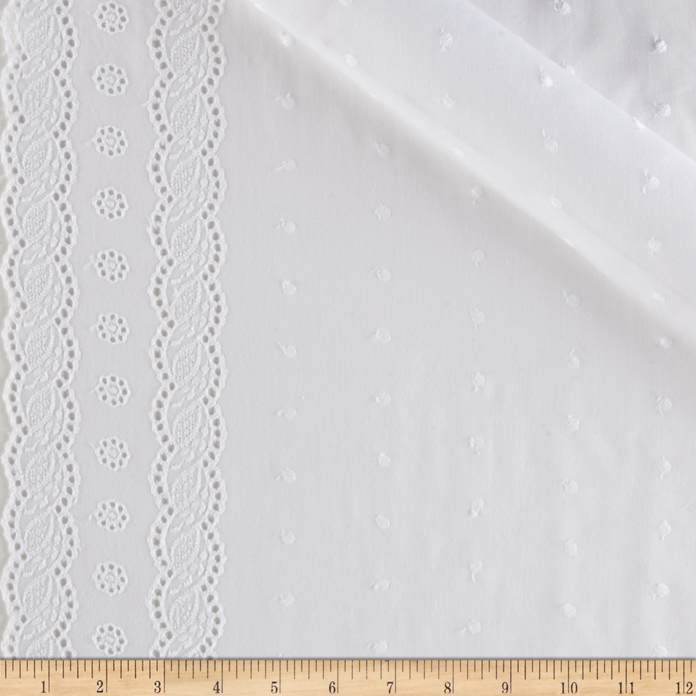 Imperial Eyelet Flounce 4'' Twist Border White Fabric by Spechler-Vogel in USA