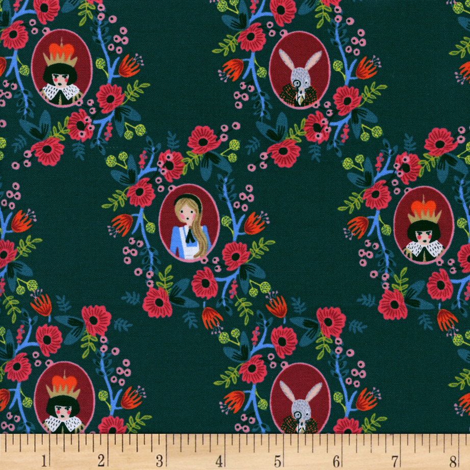 Image of Cotton + Steel Rifle Paper Co. Wonderland Cameos Green Fabric