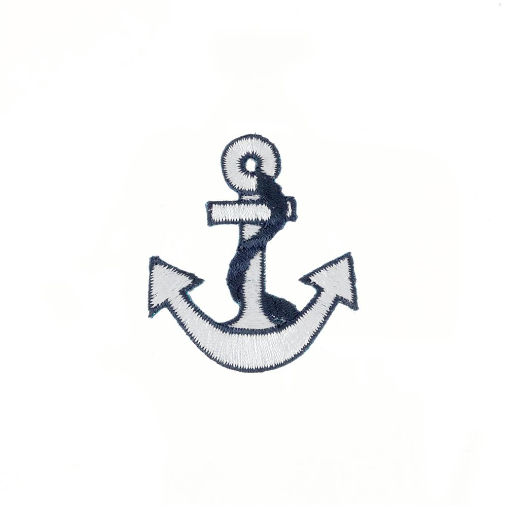 Anchor with Border Applique White/Navy