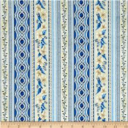 Kaufman Holiday Flourish Metallic Stripe Blue
