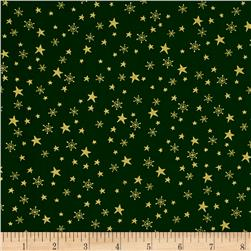 Metallic Christmas Stars and Snowflakes Metallic Green