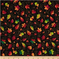 Autumn Breeze Leaf Swirl Black