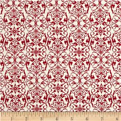 Joyeux Noel Small Damask Red