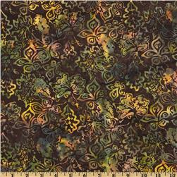 Bali Batiks Stylized Floral Brown Sugar