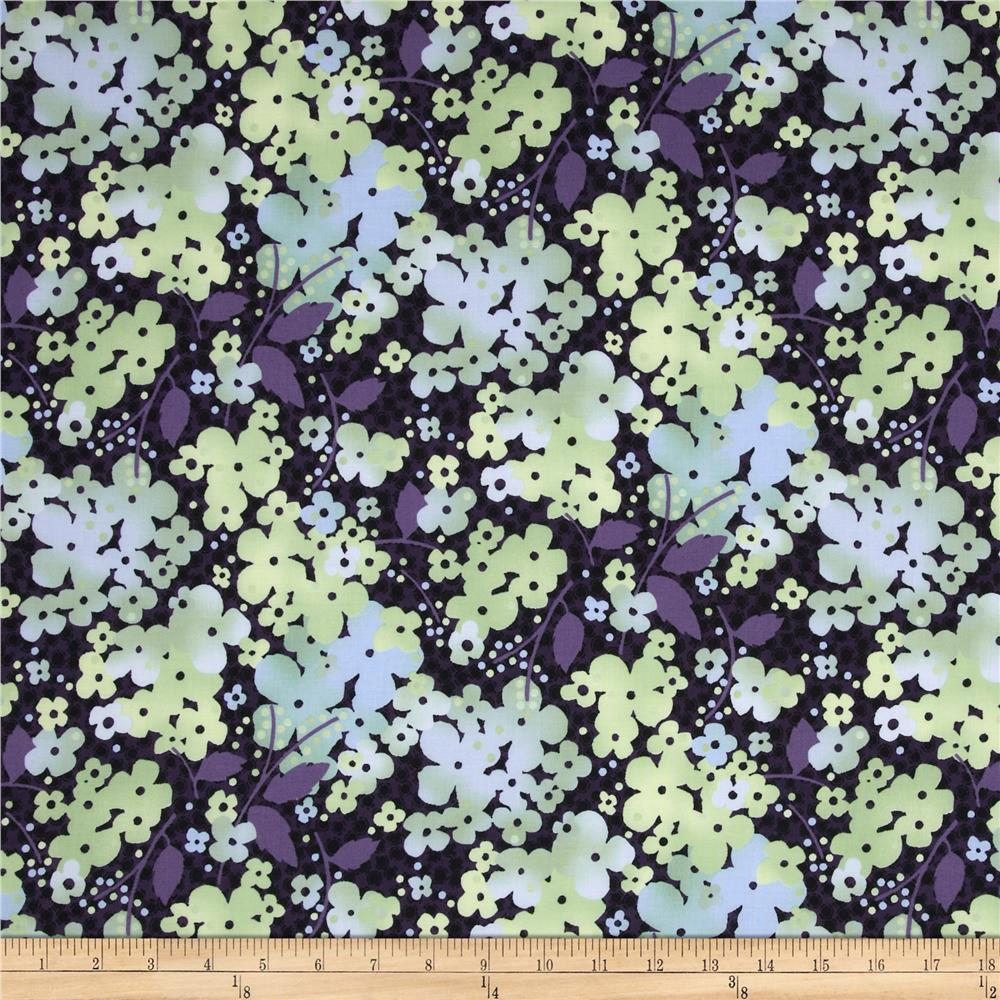 Amethyst Large Floral Black - Discount Designer Fabric ...