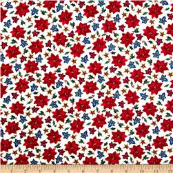 Christmas Splendor Poinsettia Toss Cream Fabric