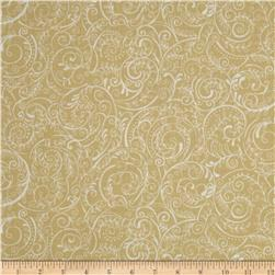 Charleston 108'' Wide Quilt Backing Swirly Vine Beige/White