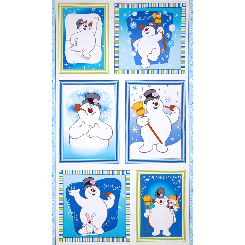 Silly Snowman 24 In. Frosty Picture Patch Panel Blue Fabric By The Yard