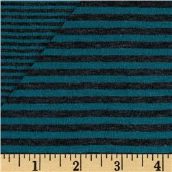 Double Face Stripe Knit Teal/Charcoal