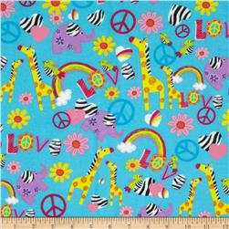 Fabri-Quilt Cuddle Flannel Giraffes and Peace Signs Turquoise