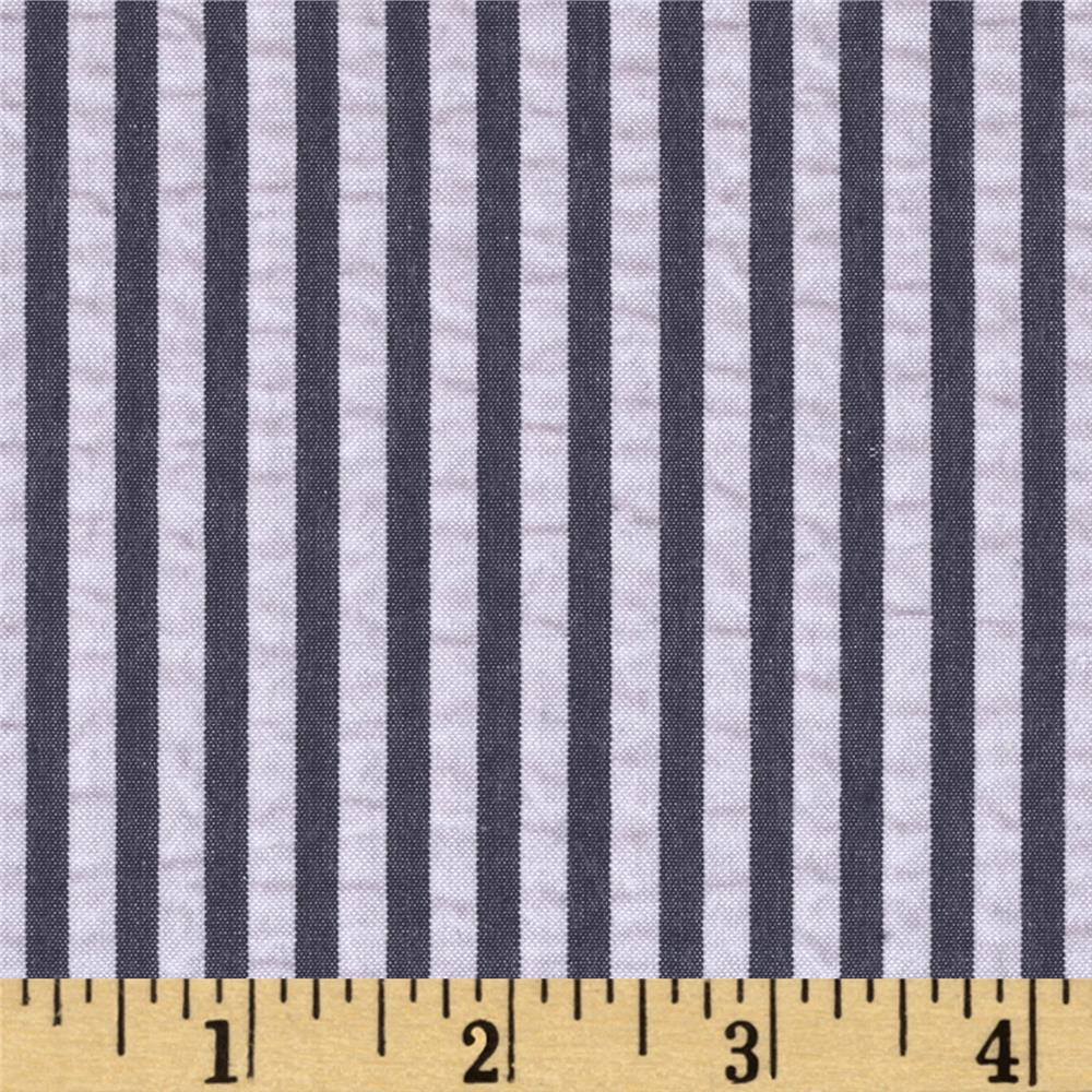 kaufman breakers seersucker stripe navy discount designer fabric. Black Bedroom Furniture Sets. Home Design Ideas