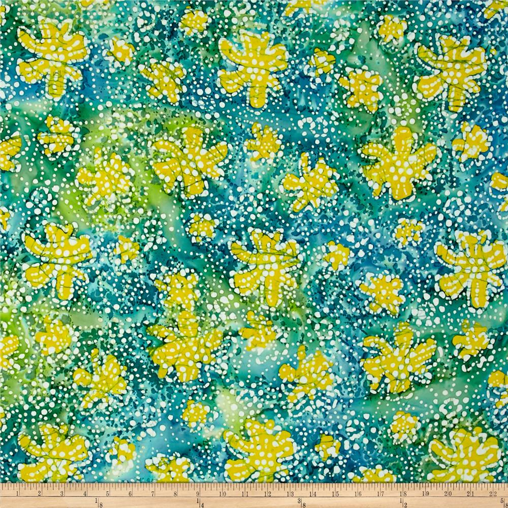 Indian Batik Caledonia Garden Small Floral Teal/Yellow