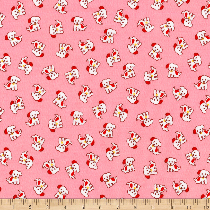 1930s House Dresses Kaufman Naptime Dogs Camellia  Fabric $9.94 AT vintagedancer.com