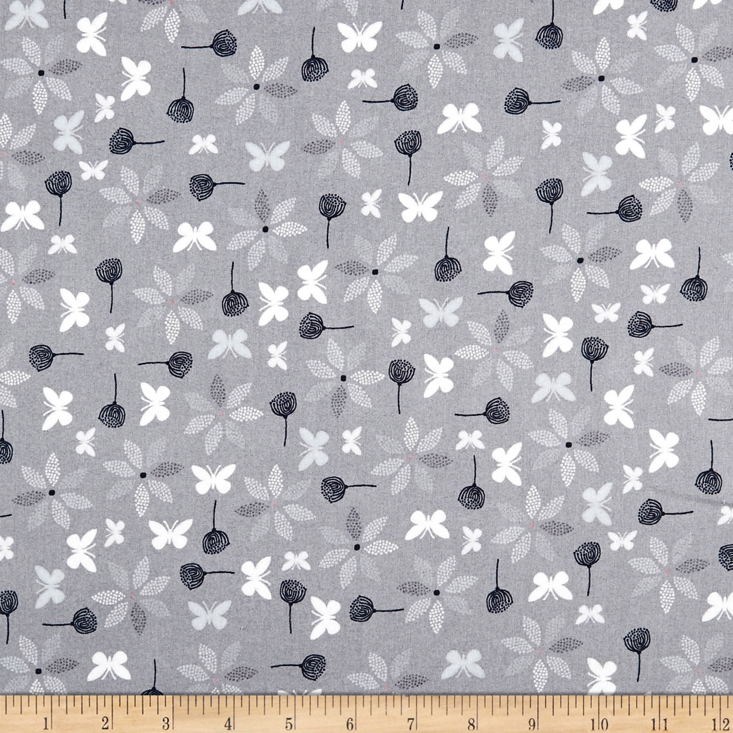 Stof Fabrics Denmark Hollie's Flowers Butterlies & Flowers Grey