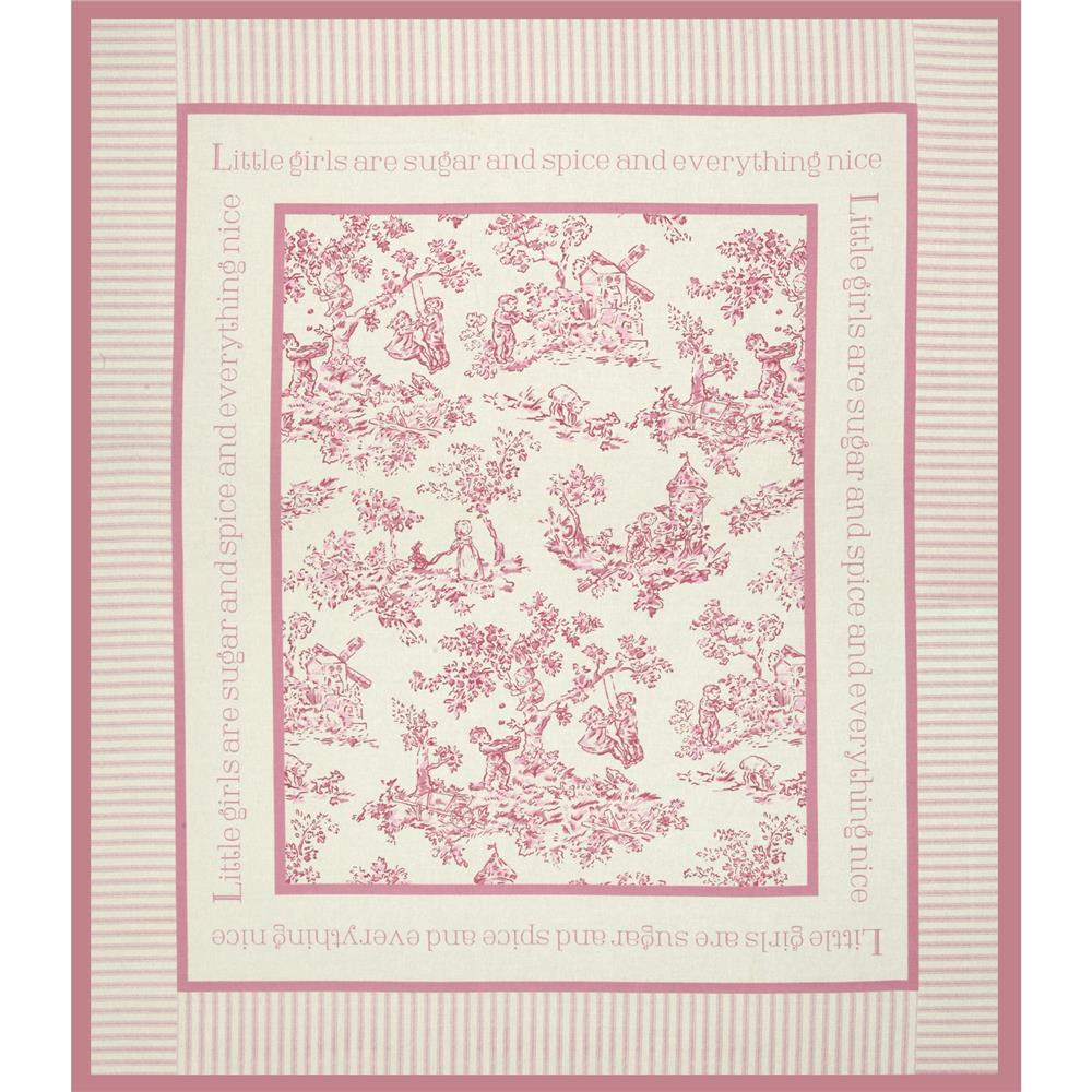 Nursery rhyme toile panel pink discount designer fabric for Pink nursery fabric