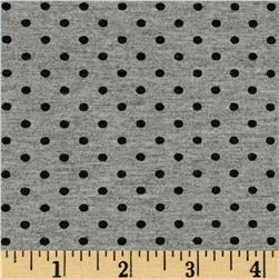 Stretch Bamboo Rayon Jersey Knit Polka Dot Grey/Black