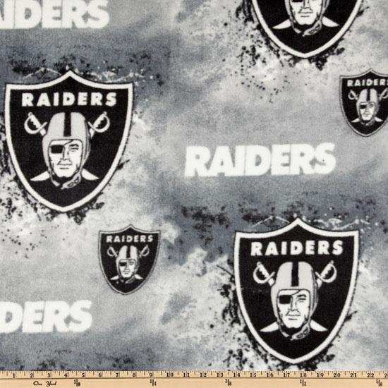 NFL Fleece Oakland Raiders Black/White/Grey Fabric By The Yard