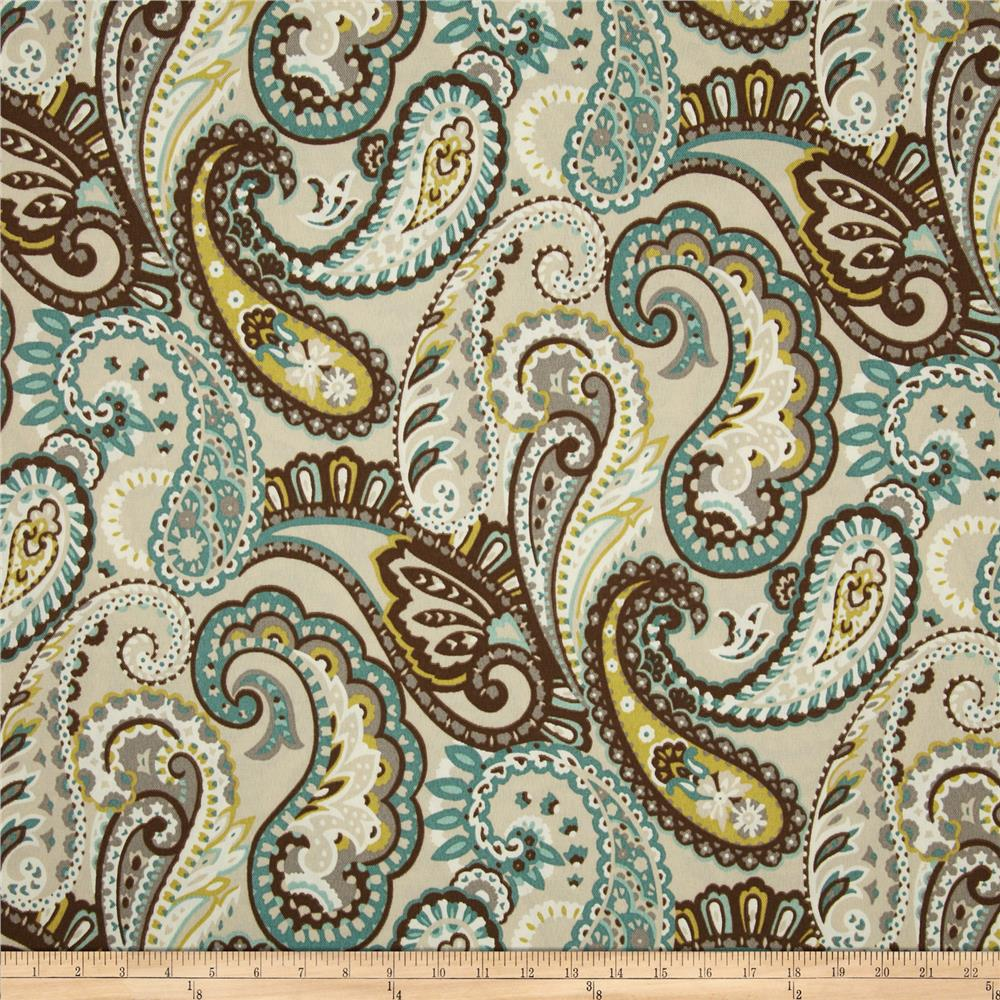 Discount outdoor fabric by the yard - Bryant Indoor Outdoor Tamara Large Paisley Quartz Discount Designer Fabric Fabric Com