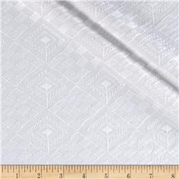 Kaufman Rebecca Embroidered Diamond Plaid White