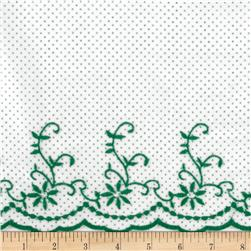 Scalloped Embroidered Flowers & Dots White/Green