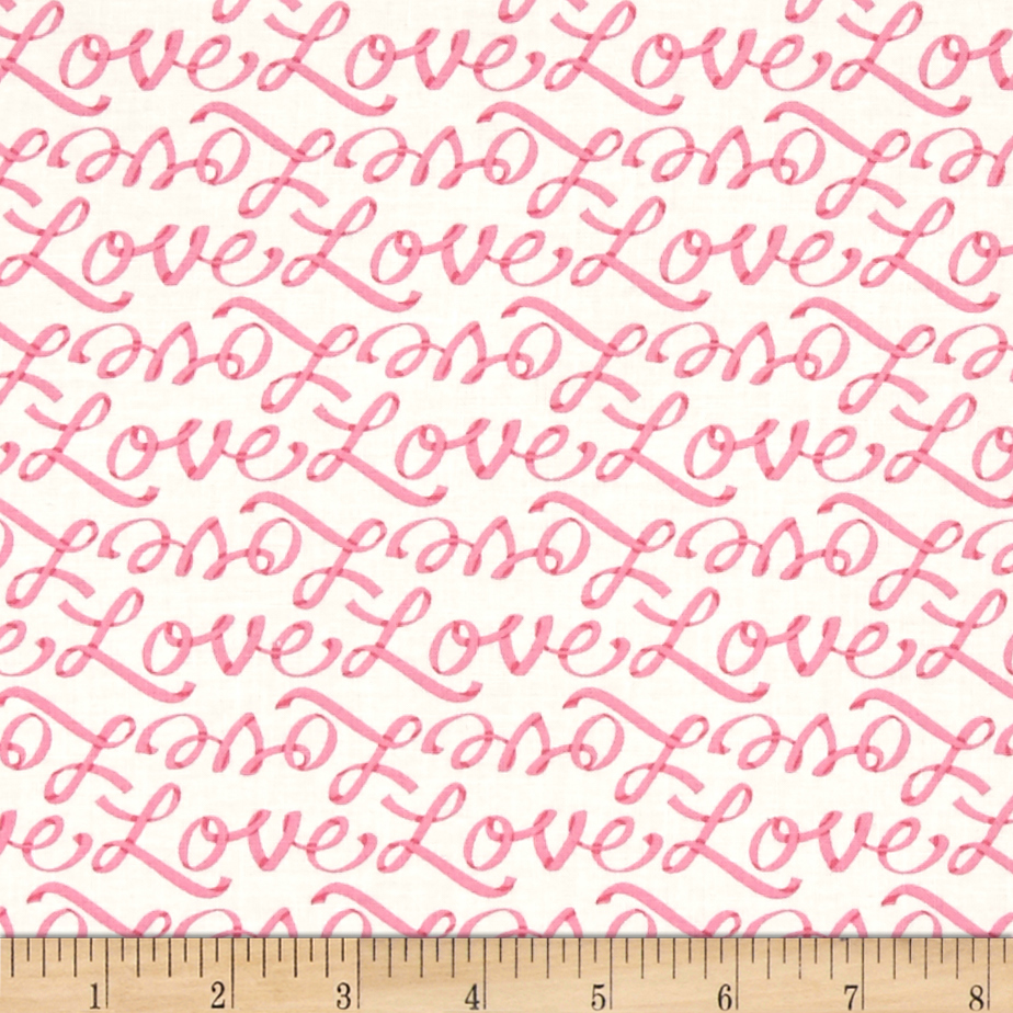 Moda Ever After Love Letters Ivory/Pink Fabric