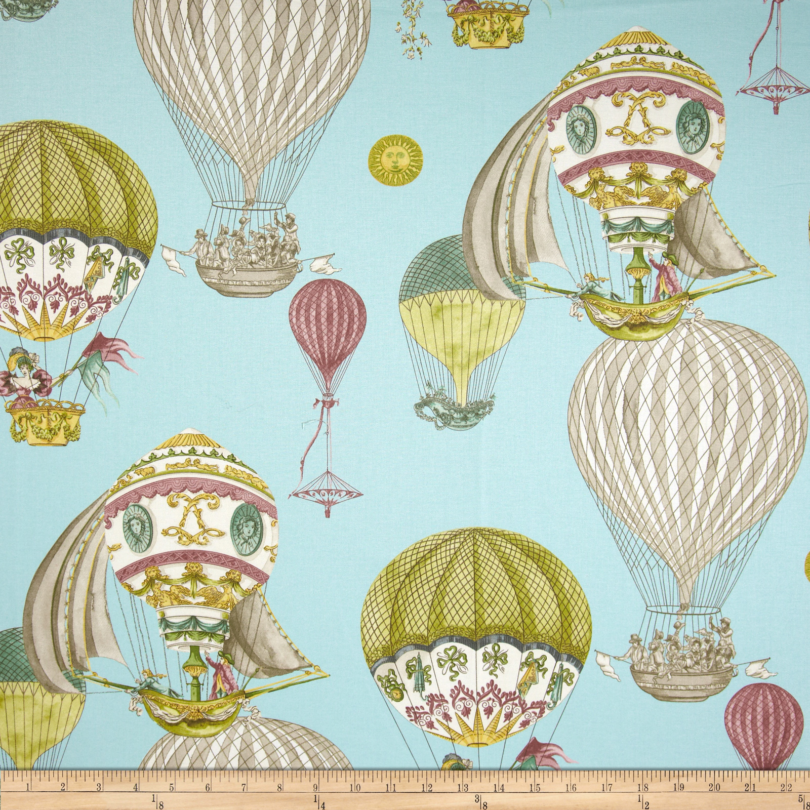 Waverly Aerial Adventure Creme De Menth Fabric by Waverly in USA