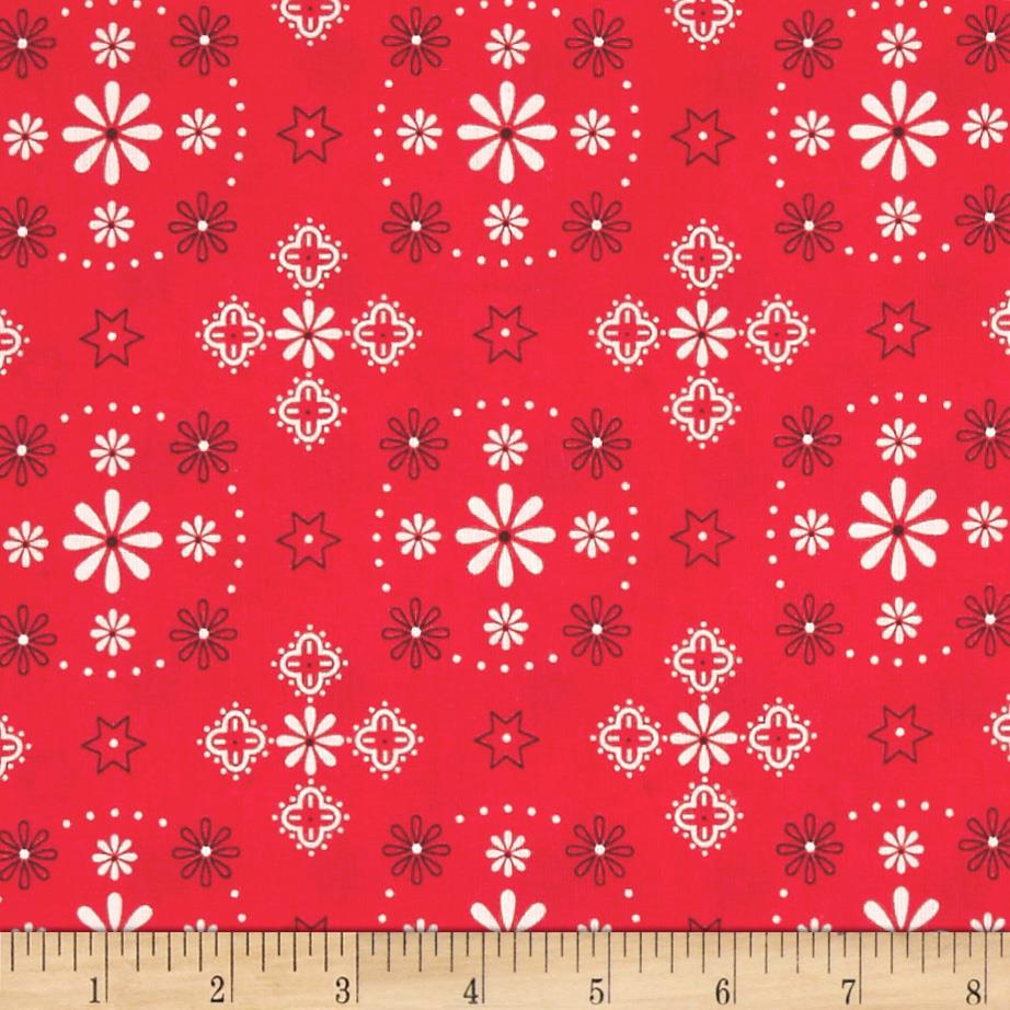"""Riley Blake Bee Backings and Borders 108"""" Quilt Back Bandana Red"""