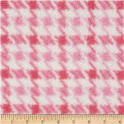 Whisper Coral Fleece Houndstooth Pink Fabric